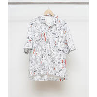 Name. :  TRASH PATTERN HALF SLEEVE OPEN COLLAR SHIRT