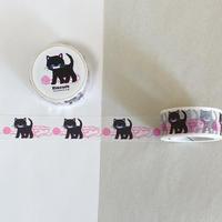 オリジナルマスキングテープ・黒ネコと毛糸(蛍光ピンク)