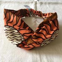 アフリカンプリントヘアバンド37・ひまわりオレンジ