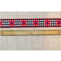 ヴィンテージ手芸テープ33・赤いお花と黒ギンガム