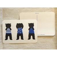 オリジナルポストカード・3匹のクマ黒・2枚