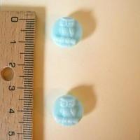 ボタン1・ガラスフクロウライトブルー2個