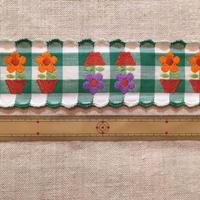 ヴィンテージ手芸テープ16・幅広ギンガムチェックにお花