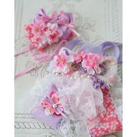 《Wa.Ruban 》桜.sakura パープル チョーカー&ヘッド飾り