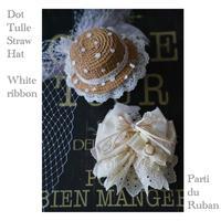 《White》ドットチュールの麦わら帽子とRibbonチョーカー