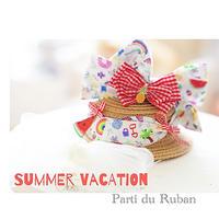 Summer Vacation 大きなリボンの麦わら帽子