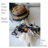 《Black》ドットチュールの麦わら帽子とRibbonチョーカー