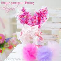 Sugar pompon Bunny Cherry pink カチューシャ&ポンポンチョーカー
