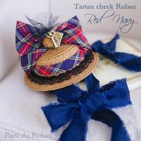 Tartan check Ruban Red&Navy