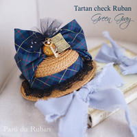 Tartan check Ruban Green&Gray
