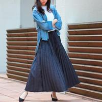 BIT BLUE デニムプリーツ ロングスカート