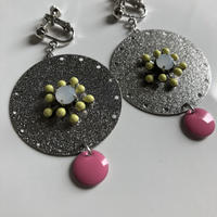 Silver disk earring