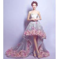 前ミニ花柄パーティードレス 刺繍イブニングドレス 結婚式 お呼ばれ 二次会 女子会 披露宴 発表会 感謝会