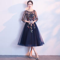 花柄刺繍入りオーガンジードレス