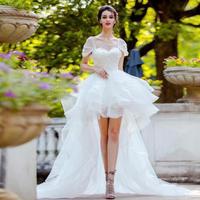 ウェディングドレス パーティードレス 前短後長 二次会 結婚式 披露宴 司会者 舞台衣装 花嫁 レース