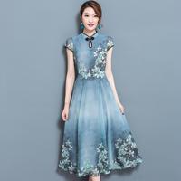 20代30代 アジアンテイストが可愛いミモレ丈ドレス