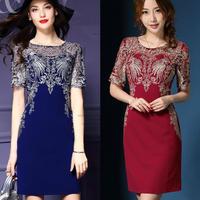 半袖シースルー刺繍タイトドレス
