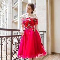 パーティドレス オフショル チュール 花柄刺繍 ローズ 二次会 結婚式 司会者 披露宴 膝丈 ピンク
