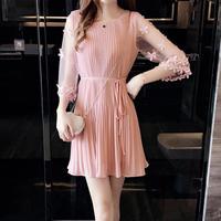 パーティードレス 結婚式 二次会 ワンピース 結婚式ドレス お呼ばれワンピース 20代 30代 40代 袖あり ミニ ピンク レース 花柄
