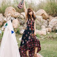 20代 ボヘミアン風デザインがお洒落で可愛いロング丈ドレス
