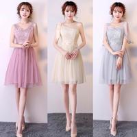 20代 軽やかなシフォンが可愛いひざ丈ドレス
