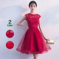 パーティードレス 結婚式 二次会 ワンピース 結婚式ドレス お呼ばれワンピース 20代 30代 40代 ショート 赤 レース 刺繍 花柄