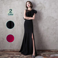 ロングドレス パーティードレス 結婚式 二次会 ワンピース 結婚式ドレス お呼ばれワンピース 20代 30代 40代 袖あり 黒 赤
