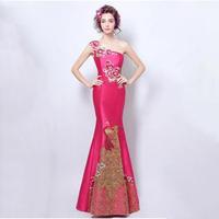 パーティー ロング丈 チャイナドレス ワンショルダー 結婚式 司会者 舞台衣装 写真撮影 ローズ 中国風