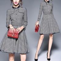 お呼ばれスタイル 英国風クラシカルなグレーチェックワンピースドレス