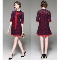 レトロな雰囲気 ネイビー×レッド フラワーレースワンピースドレス