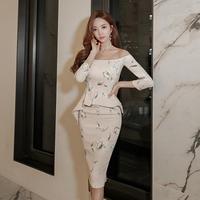ウエストフリルオフショルダー花柄タイトワンピースドレス