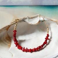 スカーレットレッドが美しい珊瑚のブレスレット