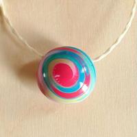 手作りビーズネックレス -SPIRAL: Pink x Blue-