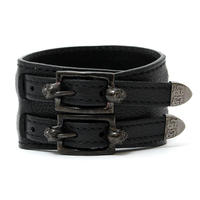 Skull Buckle Leather Bracelet / BLACK 2902715
