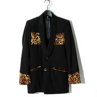 Leopard Pattern Switching Jacket / BLACK 2903302