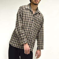 plaid check open-collared shirt[T-0031]