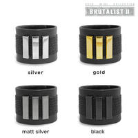 3 BARS long leather bracelet