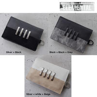 BI COLOR 4 bars leather card case