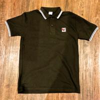 BLAHロゴ刺繍 ラインポロシャツ(ブラック×ホワイト)