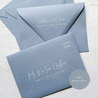 007_dusty blue envelope |  宛名 / 別納印 / 差出人印刷込み 10部