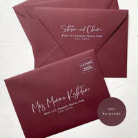001_burgundy envelope |  宛名 / 別納印 / 差出人印刷込み 10部