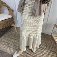クロシェ網み裾フレアスカート