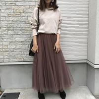 3/15入荷・ボリュームチュールレイヤードスカートブラウン