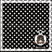 【HT003】ハンドタオル:カメリアおリボン枠 サングラスCOCOちゃん ライン囲み 黒×白ドット