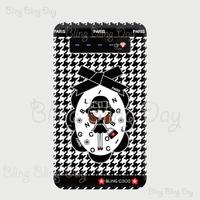 【MB006】モバイルバッテリー:黒おリボン枠 お目目ぱっちりお帽子COCOちゃん ライン入り千鳥格子