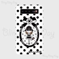 【MB008】モバイルバッテリー:カメリアおリボン枠 お帽子COCOちゃん 白×黒ドット