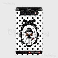 【MB005】モバイルバッテリー:黒おリボン枠 お目目ぱっちりお帽子COCOちゃん ライン入り白×黒ドット
