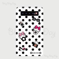 【MB011】モバイルバッテリー:アイテム 白×黒ドット