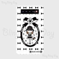 【MB009】モバイルバッテリー:カメリアおリボン枠 お帽子COCOちゃん 白×黒おリボン