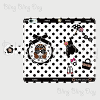 【TC002】手帳型スマホケース:黒おリボン枠 サングラスCOCOちゃん 白×黒ドット